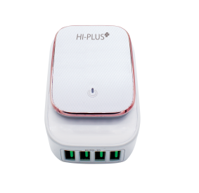 HI-PLUS H555C 4 USB Mobile Charger 4.4A Output LED Touch Lamp (White)