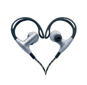 HI-PLUS H109F Rear Hanging Type Sports Earphone Handsfree With Mic (Grey_Black)