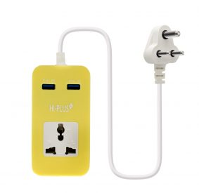 HI-PLUS H711 Single Socket Dual USB Port with Output- 5V/ 2.1 A each 1 Socket Surge Protector  (Yellow)