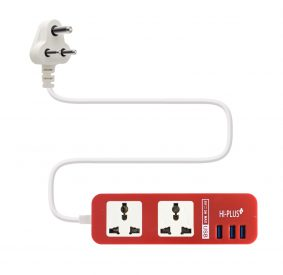 HI-PLUS H712 Dual Socket with 3 USB Port, 1.5m cable length, Output- 5V/3A Max Surge Protector (Red)