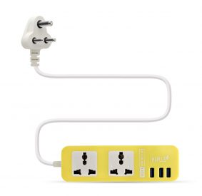HI-PLUS H712 Dual Socket with 3 USB Port, 1.5m cable length, Output- 5V/3A Max Surge Protector (Yellow)