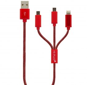 HI-PLUS H15 3in 1 USB CHARGING CABLE TANGLE FREE WITH 1.5 METERS for iPhone & Android Sync & Charge Cable (Red)